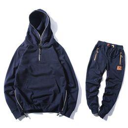 $enCountryForm.capitalKeyWord NZ - Casual Sporting Suit Men Warm Hooded Tracksuit Track Suit Hidden Suspenders Black Hoodies Men's Sweat Suits Spring Autumn Sets