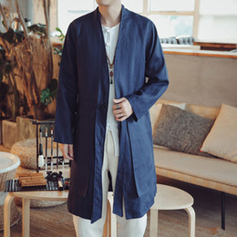 e1104554f Windbreaker Men Coat Abrigo Hombre Men's New Chinese Wind And Spring Medium- long Pure-color Flax Retro-style Jacket In 2018