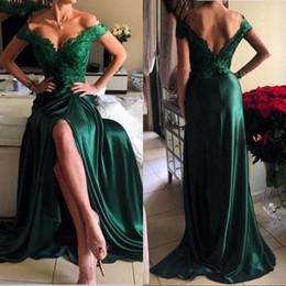 Sexy back cutout prom dreSSeS online shopping - Party Prom Dresses A Line Dark Green High Split Cutout Side Slit Lace Sexy Off Shoulder Formal Evening Gowns