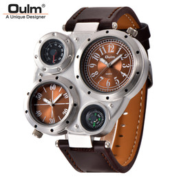 $enCountryForm.capitalKeyWord Australia - Oulm HP9415 Unique Sport Watches for Men Casual Leather Male Quartz Wristwatch Decorative Thermometer Compass Men's Watch
