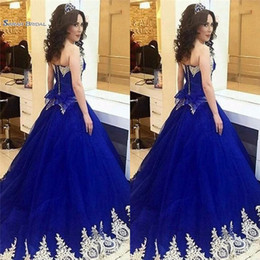 Wholesale Vintage Royal Blue Sweetheart A line Prom Dress Appliques Pageant Dress Sweep Train Prom Gown Hot Sales