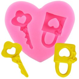 heart shaped molds 2019 - DIY Key Heart Shape Fondant Molds Silicone Mould 3D Craft Chocolate Gumpast Moulds Cake Decorating Tools Kitchen Baking