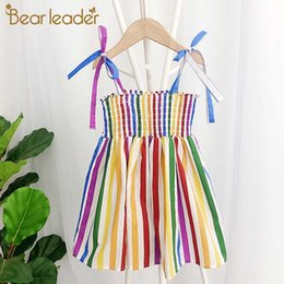 bear bowtie NZ - Bear Leader Girls Party Dress 2020 New Summer Fashion Kids Colorful Striped Dresses Cute Outfits Bowtie Sling Children Vestidos
