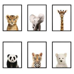 Lion canvas print online shopping - Lion Panda Elephant Giraffe Baby Animals Art Print Poster Safari Animals Pictures Canvas Painting Kids Room Nursery Wall Decor