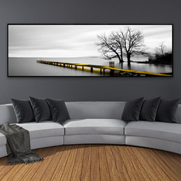 wall art home bridges Canada - Calm Lake Surface Long Yellow Bridge Scene Black White Canvas Paintings Poster Prints Wall Art Pictures Living Room Home Decor