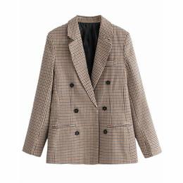 $enCountryForm.capitalKeyWord Australia - fashion Fashion clothes Wind Ma'am Checked Double Row Buckle Suit Loose Coatb