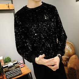 $enCountryForm.capitalKeyWord Australia - 2019 spring summer men's loose round neck sequin shirt personality hooded star clothing hoodies hip hop Japan Style Gold Black