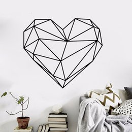 Package house online shopping - Black Large heart Geometric Wall Sticker Removable Double Sided Visual Pattern Home Decoration House Wallpaper wn632