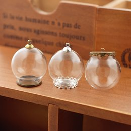 $enCountryForm.capitalKeyWord Australia - 10 30*20mm hollow globe with setting base beads cap set orb glass vials pendant glass bottle jewelry pendant 10set 30*20mm hollow