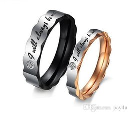 18k wedding ring forever love Canada - Pay4U Fashion Jewelry Titanium Forever Love Promise Lovers Couple Classic Rings For Women And Men size 6-15