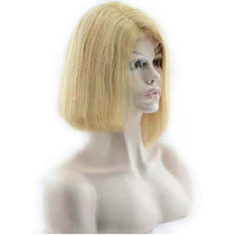 $enCountryForm.capitalKeyWord Australia - Remy Blonde Russian Human Hair Full Lace Front Wigs Natural Straight Bleached Beauty Cheap Affordable Pretty Bob Wig 10-16 inches For Women