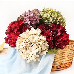 brides flower bouquet artificial Canada - heap Artificial & Dried Flowers 1Pcs Silk Artificial Hydrangea Bride Flower Bouquet for Wedding Home Decoration Handcraft Wreath Gift Scr...