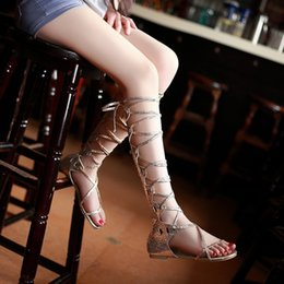 long boots lace flat Australia - Lady Party European Ladies Gladiator Party Motorcycle Boots Shoes Women Sexy Flat Hollow Lace Up Bandage Long Summer Boots Shoes