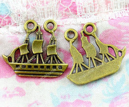 Boat Charms Australia - 50pcs 22*24MM vintage antique bronze Sailboat sailing boat charms for bracelet vintage metal pendants earring handmade DIY jewelry making