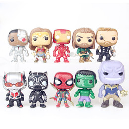 pop figure funko Canada - FUNKO POP 10PCS 10CM Thanos Aquaman Venom Wolverine Ant man Action Figures Spiderman Ironman Wonder Woman Hulk Bat man Flash Avenger:endgame