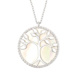 14k chain wholesale NZ - Life Tree Pendant Natural Abalone Shell Necklace 14k Gold Plated Necklaces Sliver Rose-gold White Shell Sweater Chain Wholesale Jewelry