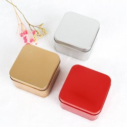 empty tea tins 2019 - 1000pcs 8.5*8.5*4.5cm Popular Tin Box Empty Colorful Metal Tea Candy Tin Box Jewelry Storage Case Square Metal Mini Cand