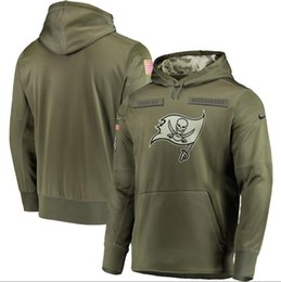 2019 Hommes Tampa Bay Sweatshirt Buccaneers Salut Au Service Sideline Therma Performance Pull À Capuche Olive