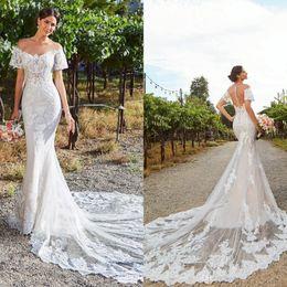 2021 Volle Spitze Brautkleider Lange Beach von der Schulter Meerjungfrau Hochzeitskleid Kurzarm Brautkleider Braut Formales Kleid im Angebot