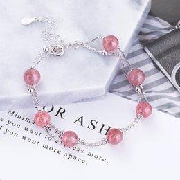 Fresh Bracelets Australia - S925 sterling silver strawberry crystal bracelet for female fashion small fresh temperament hand jewelry for birthday gift