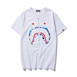 China Summer Lover Shark Mouth Printing Cotton T-shirts Teenager Large Size Casual Round Neck Short Sleeve Personality T-shirts cheap large sharks suppliers