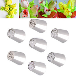 cupcake ceramic Australia - Wholesale- Kitchen 7Pcs lot Russian Tulip Nozzle Perfect For Cake Cupcake Decorating Icing Piping Nozzles Russian Rose Nozzles Tips #82438