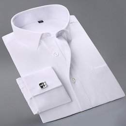 shirt man white french cuff Australia - Wholesale- 2017 New French Cuff Button Men Dress Shirts classic Long Sleeve Brand Formal Business Fashion Shirts camisa masculina Cufflinks