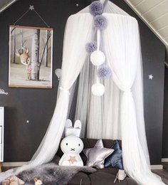 lace canopy mosquito net 2019 - Ins Nordic Cotton Baby Girls Room Decoration Balls Pompom Home Mosquito Net Round Crib Netting Tent Kids Canopy Bed Curt