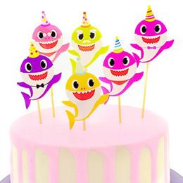 $enCountryForm.capitalKeyWord Australia - Baby Shark Cake Cute Card Cake Animal Toothpicks Flags Cartoon Cupcake Inserts Card Decoration Kids Birthday Party Supplies 6pcs sets C71001