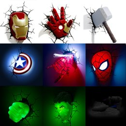 Spiderman figureS online shopping - Marvel avengers LED wall lamp bedroom living room D creative Light Ironman for Spiderman Hulk Deadpool Captain American Quake