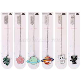 Wholesale Bookmark Chains Australia - Cat Sakura Chain Marker Bookmark Page Clip School Supplies Stationery Student Gifts Office Book Marker Stationery
