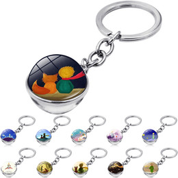 fairy tale pendants wholesale NZ - 12 style Classical Fairy Tale keychain Double-sided Glass Ball Little Prince keyring Bag Car Keys Hanging pendant kid Gift Wholesale JJ197