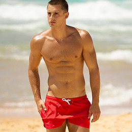 board beach shorts Canada - SD389 New solid men swimwear with inner summer quick dry beach shorts board surfing briefs men swimsuits pool swim trunks boxer