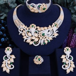 Jade Dresses Australia - GODKI Famous Brand Luxury Shinning Flower Leaf Women Wedding Naija Bridal Cubic Zirconia Necklace Dubai Dress Jewelry Set