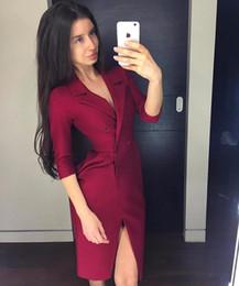 $enCountryForm.capitalKeyWord Australia - 2019 Dress Sexy Celebrity Full Slit Button Double-Breasted Women Turn-Down Collar Night Club Party Body con Dresses Wholesale