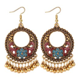 indian ear rings Australia - Europe and the United States hollow ring geometric metal ball tassel earrings female creative drops of oil flower earrings jewelry