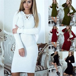 826ff9fbae78 New Long Knitted Women Casual Sweater Dress 2019 Spring Autumn Sexy Lace Up Long  Sleeve Dresses Robe Pull Femme Vestidos BB