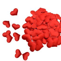 $enCountryForm.capitalKeyWord Australia - 100Pcs 35mm Romantic Sponge Satin Fabric Heart Petals Wedding Confetti Table Bed Heart Petals Wedding Valentine Decoration