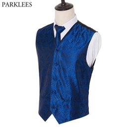 royal springs Australia - 3pc Men's Royal Blue Tuxedo Vest Tie Handkerchief Set 2019 Spring New Paisley Jacquard Waistcoat Vest Pocket Square Tie Suit Set
