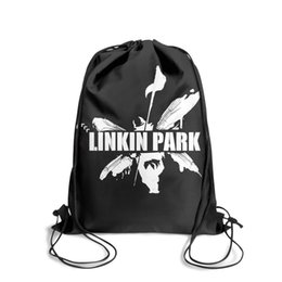 Butterfly Chains Australia - Drawstring Sports Backpack Linkin Park butterfly white outdoor convenient sports Travel Fabric Backpack