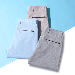 Wholesale mens lightweight summer cotton trousers resale online – QUANBO Summer Breathable Cotton Linen Mens Casual Pants New Arrival Slim ElasticThin Comfortable Trousers Brand Clothing
