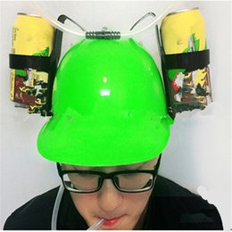 drinking hat beer Australia - New Beverage Helmet Drinking Hat Funny Toys Lazy lounged Straw Cap Beer Gifts For Lazy Person Free your Hands Cap