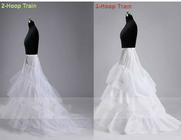 cathedral train petticoats UK - White 2 HOOP 3 HOOP Chapel Train Wedding Promo Crinoline Petticoat Slips