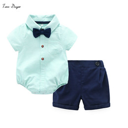 $enCountryForm.capitalKeyWord NZ - Tem Doger Baby Boys Gentleman Clothes Suit Long Sleeve Cotton Bowtie Rompers + Shorts 2 Pcs Toddler Clothing Bodysuits Outfits