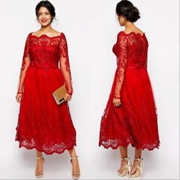 16w dresses tea length online shopping - Vintage Red Mother off Bride Dresses Bateau Neck Lace Appliques Long Sleeves Plus Size Mother Of the Bride Gowns Wedding Guest Dress