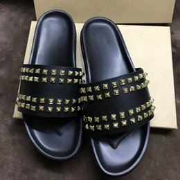 $enCountryForm.capitalKeyWord Australia - 2019 Designer Slides Red Bottom Slippers Mens Black Genuine Leather With Spikes Shoes Summer Flat Flip Flops Soft Leather Sandals US 12