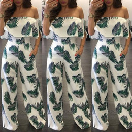 $enCountryForm.capitalKeyWord NZ - Wholesale fashion Women Summer Loose Beach Clubwear Playsuit Print Off shoulder Long Jumpsuit Romper Trousers Hot Sell