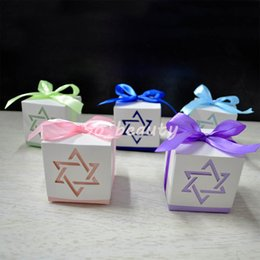 $enCountryForm.capitalKeyWord Australia - 100pcs Hexagonal Star Candy Boxes with ribbon Wedding Favor Baby Shower Birthday Sweet Party Gift Box