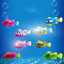 Kids Educational Gifts NZ - Luminous Electric Fish Robots Swimming Electronic Energy Ornamental Fish and Children Baby Kids Bath Activated Robot Pet Playmate Best Gift