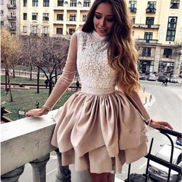 $enCountryForm.capitalKeyWord Australia - Vestidos De Gala Sexy Beaded Open Back Cocktail Dresses 2019 High Neck Long Sleeve Tiered Prom Gowns Lace Evening Party Dresses
